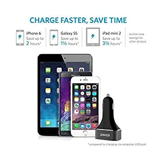 Anker 48W 4-Port USB Car Charger, PowerDrive 4 for iPhone X/ 8/ 7 / 6s / Plus, iPad Pro / Air 2 / mini, Galaxy S7 / S6 / Edge / Plus, Note 5 / 4, LG, Nexus, HTC and More