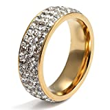 Women Stainless Steel Eternity Ring CZ Cubic Zirconia Crystal Circle Round,Gold,7mm Width,Size 7