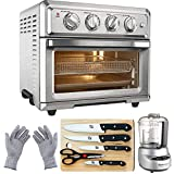 Cuisinart TOA-60 Convection Toaster Oven Air Fryer w/Light (Silver) with Ultimate Kitchen Bundle Includes Mini Food Processor, 5-Piece Knife Set, Ctting Board & Protective Safety Gloves