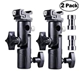 Camera Flash Speedlite Mount Light Stand Flash Bracket Shoe Mount Speedlite Stand Camera Umbrella Holder for Camera Canon Nikon Pentax Olympus Nissin Metz and Other Speedlite Flashes E Type-2 Pack