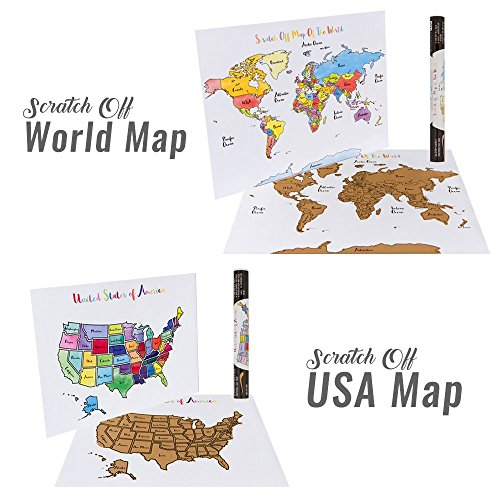 USA + World Scratch-Off Map Bundle - Includes 2 Individual Watercolor Scratch Off Usa Map on red usa map, folding usa map, black usa map, white usa map, gold usa map, signature usa map,