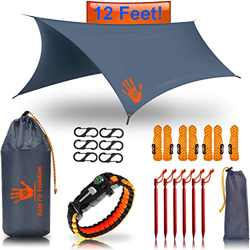 RainFlyEVOLUTION 12 x 10 ft HAMMOCK WATERPROOF RAIN FLY TENT TARP & Survival Bracelet Kit - Lightweight - Backpacker Approved - DIAMOND RIPSTOP NYLON - Perfect Hammock Shelter Sunshade for Camping