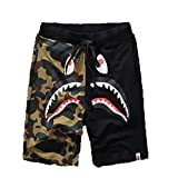 Shark Pattern Camouflage Stitching Shorts Men Drawstring Sports Shorts(Black L)