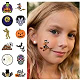 24 Halloween Temporary Tattoos - Best for Party Favors, Gift Bags and Trick or Treat Prizes - Individually Wrapped Metallic Tattoos Featuring Jack O Lanterns, Witches, Monsters and More - for Kids of