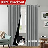 H.VERSAILTEX (2 Panels) 100% Blackout Total Shade Curtains and Draperies Solid Grey Faux Silk Lined Curtain Drapes, Thermal Insulated Guest Room Lined Window Dressing, 52' by 84' Length