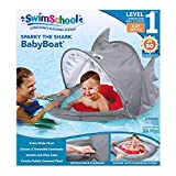SwimSchool Sparky-The-Shark Fabric Baby Pool Float, Splash and Play, Baby Boat with Safety Seat, Extra-Wide Inflatable Pool Float, Retractable Canopy, UPF 50, 6 to 24 Months, Grey