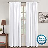 Window Treatment Curtains Insulated Thermal Back tab/Rod- Pocket Room Darkening Curtains, Pure White, Solid Curtains for Living Room, 52' W x 96' L inch (Set of 2 Panels)