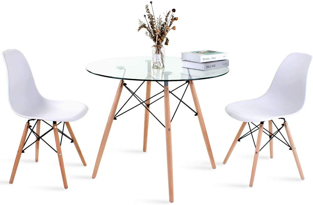 White Eiffel Dining Chair For Dining Room Kitchen Furniture Modern Round Glass Dining Table And Chair Set Of 2 Round Table 2 Chiar Retro Style Small Round Table With Metal Leg