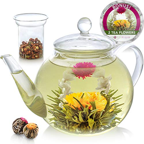 Teabloom Teapot Gift Set – Stovetop Safe Glass Teapot with 2 Blooming Teas & Removable Glass Infuser for Loose Leaf Tea – 34 oz /1000 ml