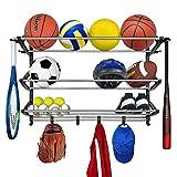 Lynk Rack with Adjustable Hooks Equipment Organizer/Sports Gear Storage, Black