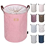 DOKEHOM 19-Inches Thickened Large Laundry Basket -(9 Colors)- with Durable Leather Handle, Drawstring Waterproof Round Cotton Linen Collapsible Storage Basket (Pink, L)