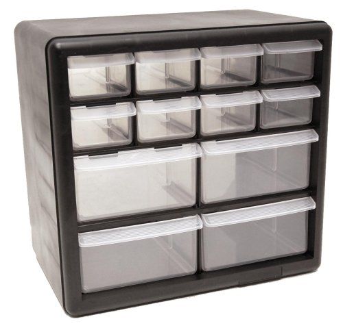 Homak 12-Drawer Parts Organizer, Black, HA01012001
