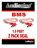 2 Pack 1.5 Feet 2 RCA Male to 2 RCA Male Stereo Car Audio Interconnect Cable
