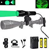 BESTSUN Green LED Light 350 Yards Focus Adjustable Tactical Flashlight with Pressure Switch, Scope Mount & Rail Mount, 18650 Rechargeable Battery, Charger for Coyote Predator Varmint Hunting