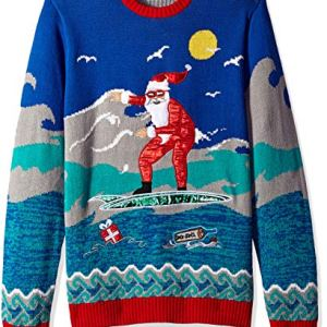 Blizzard Bay Men's Surfing Santa Ugly Christmas Sweater