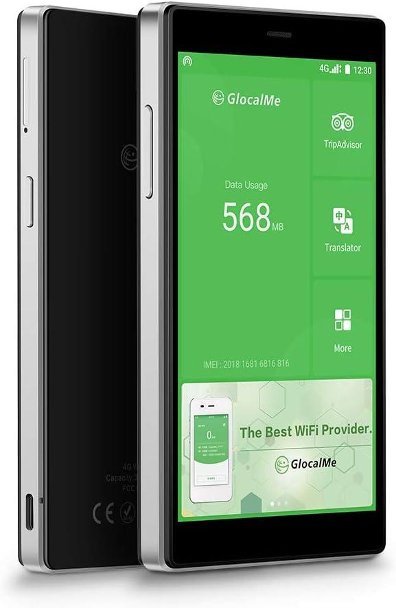 GlocalMe G4 Pro Routeur Mobile 4G, WI-FI Hotspot, Aucune Carte SIM nécessaire, avec 1Go Données Globales, Application conviviale, Couvrant de 140+ Pays et régions (Noir)