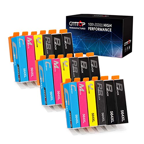 18 Pack CMTOP 564XL Ink Compatible for HP 564 564XL ink Cartridge, 5 Color, High Yield, for HP Photosmart Premium 6520 5520 7510 5510 7525 C410A C309A B8550, HP Officejet 4620, HP Deskjet 3520 Printer