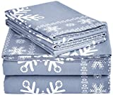 Pinzon Flannel Sheet Set - Queen, Snowflake Dusty Blue