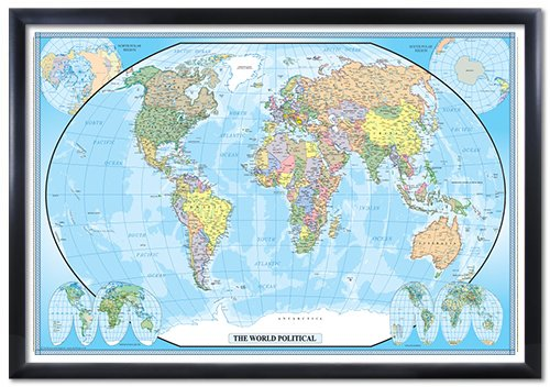 World classic wall map poster mural travel for Classic world map wall mural
