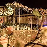 JAR-OWL 300LED Solar Curtain String Lights Wedding Holidays Party String Lights Waterproof Outdoor Indoor Christmas Light Fairy Lights for Window, House, Lawn, Garden, Patio Landscape Decoration