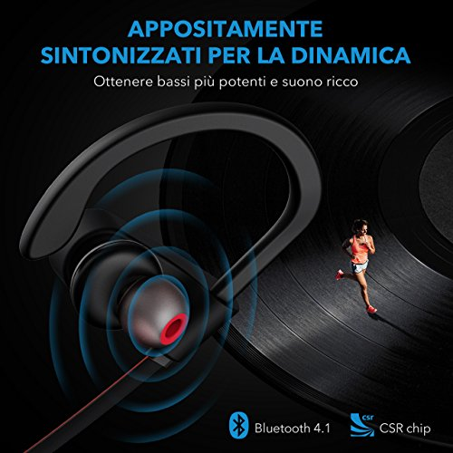 Cuffie Wireless Sport Bass+, Mpow IPX7 Flame Auricolari Bluetooth Sport CVC 6.0, con Qualità Audio HD e Stabile, Cuffie Bluetooth 4.1 In-ear con Eva Borsa per iPhone(IOS), Android – Rosso