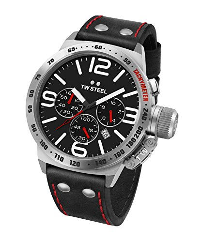 512yKdA6OZL Brushed stainless watch with tachymeter bezel, cutout logo crown cap, and black chronograph dial 50 mm stainless steel case with mineral dial window Quartz movement with analog display