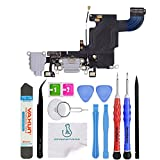 OmniRepairs Charging USB Dock Port Flex Cable Replacement with Microphone, Headphone Audio Jack Compatible for iPhone 6s Model (A1633, A1688, A1700) with Repair Toolkit (Gray)