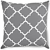 Decorative Square 18 x 18 Inch Throw Pillows Grey Moroccan Quatrefoil Lattice Cushion Pillow
