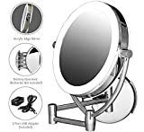 Ovente Wall Mount Mirror, 1×/10× Magnification, Premium Acrylic Frame, Diffused LED Ring Light, 9.5', Battery- or USB Adapter-Operated (MLW45CH1X10X)