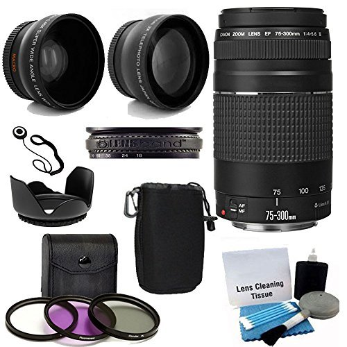 Canon-EF-75-300mm-f4-56-III-Telephoto-Zoom-Lens-with-2X-Telephoto-Lens-HD-Wide-Angle-Lens-and-Accessories-8-Piece-Kit