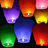 Set of 7 Assorted Color Sky Lanterns - Chinese Flying Wish Lights