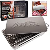 Indoor - Outdoor Stovetop Smoker w Wood Chips and Recipes - 11' x 7' x 3.5' Stainless Steel Smoker - Works On Any Heat Source in your Kitchen or on the Grill