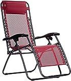 AmazonBasics Outdoor Zero Gravity Lounge Folding Chair, Burgundy