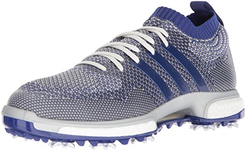 adidas Men's TOUR360 Knit Golf Shoe, Grey one/Real Purple FTWR White, 9 Medium US