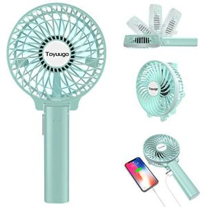 toyuugo Mini Handheld Fan, Electric Portable USB Rechargeable Battery Operated Desktop Fan with Power Bank Function, 3 Speeds Foldable Personal Cooling Fan for Home Office Outdoor Travel – Blue 5132tf83IEL