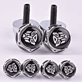 4 Pcs Chrome Car parts Auto Logo Stainless Replacement License Plate Frame Screw Bolt Caps Covers emblem With Autobot The Transformers