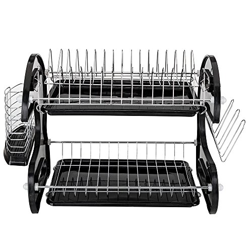 Dish Drying Rack, 2-Tier Chrome-plated Dish Rack with Drainboard, Side Cutlery Basket and 6 Mug Stands (US STOCK)