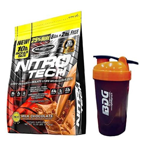 MuscleTech Nitro Tech Performance Series Whey Isolate Milk Chocolate Flavour 10 LBS. (4.54 kg) with Shaker