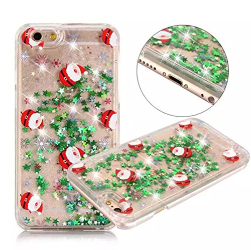 iPhone8plus Funny Case,iPhone 8 plus Christmas Case,Fusicase Merry Christmas Tree Rudolph Santa Claus Pattern Flowing Liquid Floating Luxury Bling Glitter Sparkle Case For iPhone 8 plus