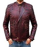 Blingsoul Red Leather Jacket Mens - Distressed Biker Jacket Costume | [1200577] Star L. PU, 3XL