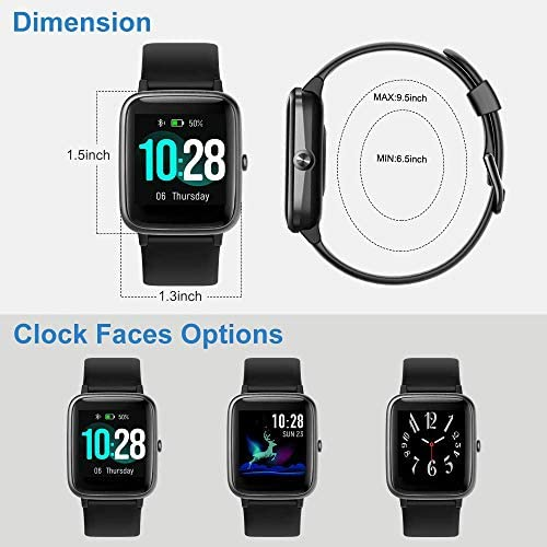 Willful Smart Watch for Android Phones and iOS Phones Compatible iPhone Samsung, IP68 Swimming Waterproof Smartwatch Fitness Tracker Fitness Watch Heart Rate Monitor Smart Watches for Men Women Black 4