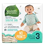Seventh Generation Baby Diapers for Sensitive Skin, Plain Unprinted, Size 3, 155 Count (Packaging May Vary)