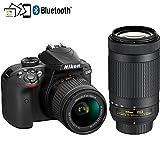 Nikon D3400 24.2MP DSLR Camera with AF-P 18-55 VR and 70-300m Lenses (1573B) - (Renewed)
