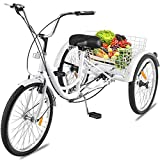 Happybuy 24 Inch Adult Tricycle Series 6 7 Speed 3 Wheel Bike Adult Tricycle Trike Cruise Bike Large Size Basket for Recreation Shopping Exercise Men Bike (White 7Speed)