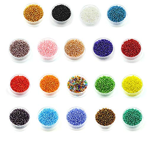 Multicolor Beading Glass Seed Beads- 2mm Round Beads (800pcs/box 19 colors Approx 15200pcs) Mini Beads for DIY Bracelets,Necklaces,Earrings, Key Chains and Kid Jewelry Making