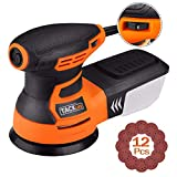TACKLIFE Orbital Sander, 3.0A 5-Inch Random Orbit Sander with 12Pcs Sandpapers, 6 Variable Speed 13000RPM Electric Sander Machine, High Performance Dust Collection System, Ideal for DIY - PRS01A