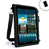 USA Gear Travel Tablet Case w/Touch Capacitive Screen Cover, Adjustable Shoulder/Headrest Strap & Protective Neoprene – Works with Kocaso W1010, Dragon Touch X10, Visual Land Connect 9 & More!