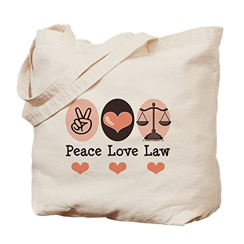 CafePress Peace Love Law School Lawyer Natural Canvas Tote Bag, Cloth Shopping Bag