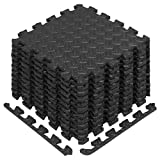 Yes4All Interlocking Exercise Foam Mats with Border - Interlocking Floor Mats for Gym Equipment - Eva Interlocking Floor Tiles (12 Square Feet, Black)