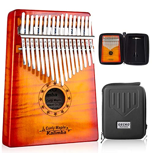 GECKO Kalimba 17 Key Thumb Piano with Hardshell Case Study Instruction Song Book Tuning Hammer for Kids Adult Beginners C Tone Tuned (Solid Curly Maple)